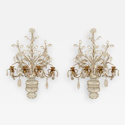 Maison Bagu s Pair of French Art Deco Bagues Gilt Metal and Rock Crystal 4 Arm Wall Sconces