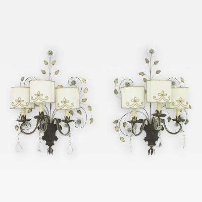 Maison Bagu s Pair of Large Wall Sconces by Maison Bagues France 1940