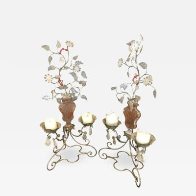 Maison Bagu s Pair of Metal Glass and Rock Crystal 2 Light Candelabra by Bagues