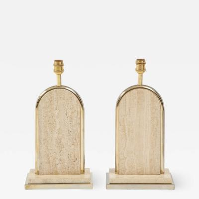 Maison Barbier Pair of travertine and gilt metal table lamps Belgium 1970s
