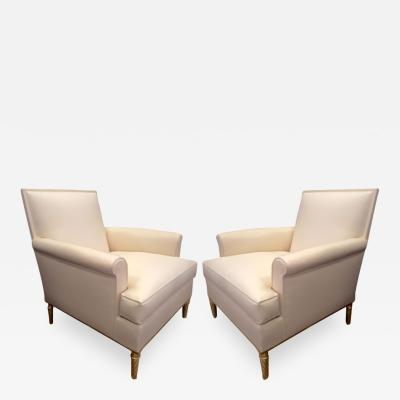 Maison Carlhian Maison Carlhian Pair of Chairs with Gold Leaf Twisted Legs Newly Covered in Silk