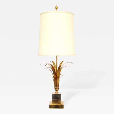 Maison Charles A French Maison Charles Style Gilt Metal and Chrome Palm Frond Lamp