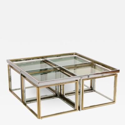 Maison Charles A French chrome and brass coffee table by Maison Charles circa 1978