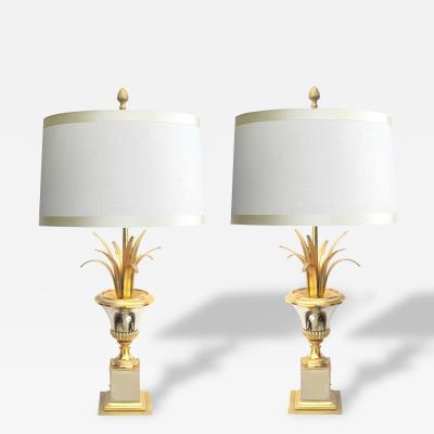 Maison Charles A Good Pair of French Maison Charles Style Brass and Steel Urn Form Lamps