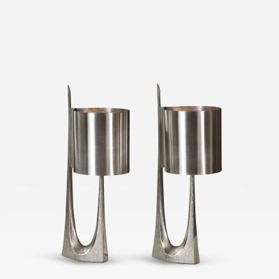 Maison Charles A Sculptural Pair of Silvered Bronze Rush Lamps