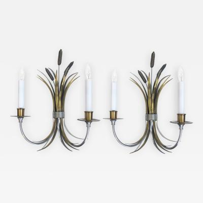 Maison Charles A Stylish Pair of Sconces of Tied Cattails by Maison Charles Paris