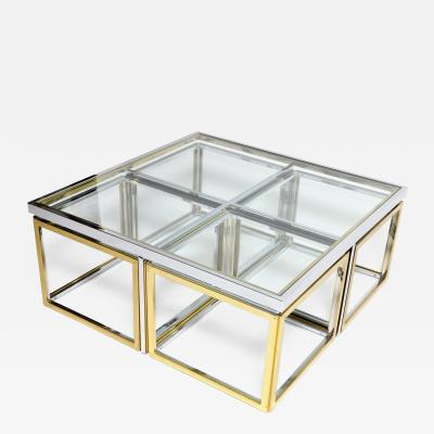 Maison Charles Brass Chrome and Glass Coffee Table Ensemble