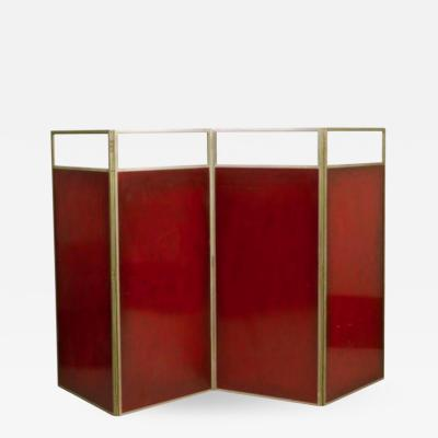 Maison Charles CHARLES HOUSE Steel front burgundy lacquer Circa 1960