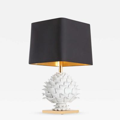Maison Charles Ceramic and Brass Artichoke Table Lamp 1950s