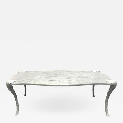 Maison Charles Decorative Carrara Marble Top Coffee Table with Floral Legs