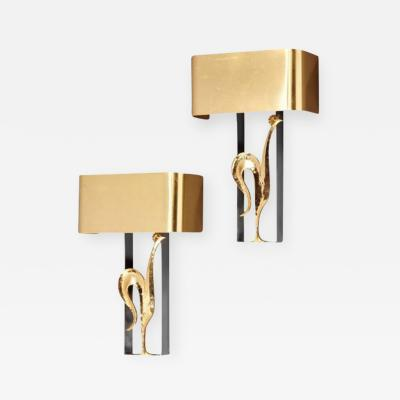 Maison Charles L 100 Stylish Pair of Gilded Bronze and Brass Rooster Sconces