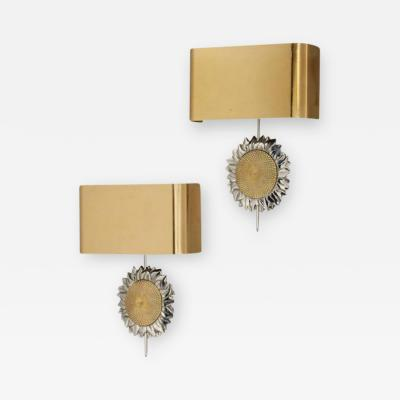 Maison Charles L 102 Pair of Brass and Silvered Bronze Sunflower Sconces by Maison Charles