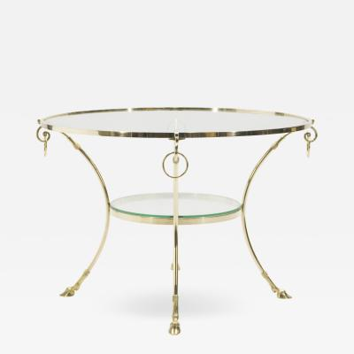 Maison Charles Large French Neoclassical Maison Charles brass gueridon side table 1970s