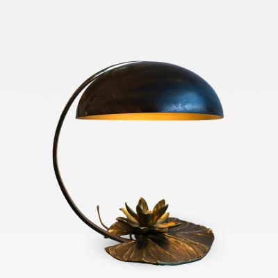 Maison Charles Lily Pad Bronze Lamp by Maison Charles France 1970s