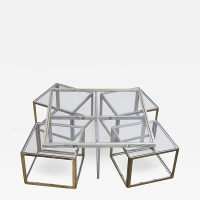 Maison Charles Maison Charles Brass Coffee Table with Four Nesting Tables
