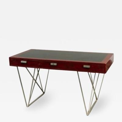 Maison Charles Maison Charles Lacquered desk resting on a steel base Circa 1960