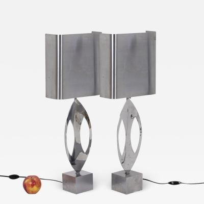 Maison Charles Maison Charles pair of Almond lamps in stainless steel 1970 s