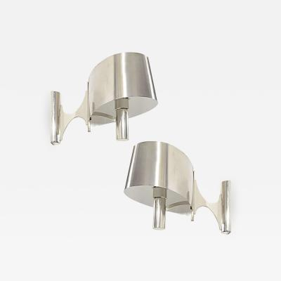 Maison Charles Miason Charles Pair of Polished Chrome Ribbon Sconces
