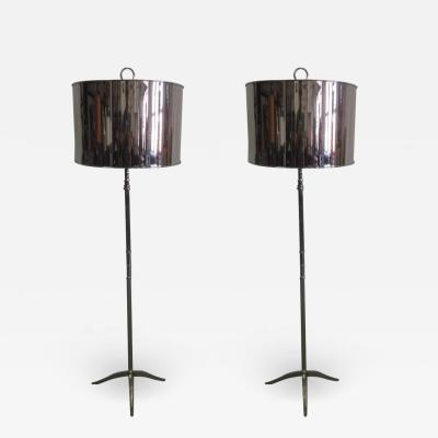 Maison Charles Pair French Mid Century Modern Style Nickel Floor Lamps Style Maison Charles