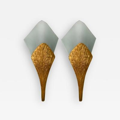 Maison Charles Pair of Bronze Sconces Nefertiti by Maison Charles France 1970s
