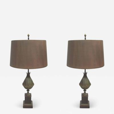 Maison Charles Pair of French Modern Neoclassical Bronze Table Lamps Shades by Maison Charles
