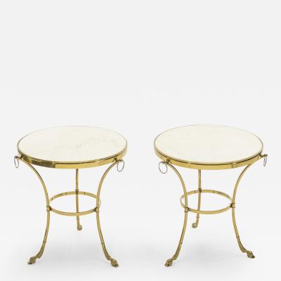 Maison Charles Pair of Neoclassical Maison Charles brass marble gueridon tables 1970s