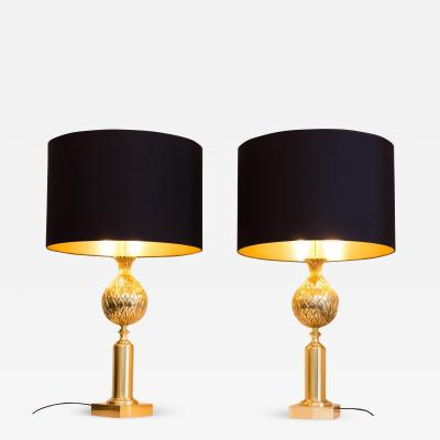 Maison Charles Pair of Table lamps Pineapple France circa 1970