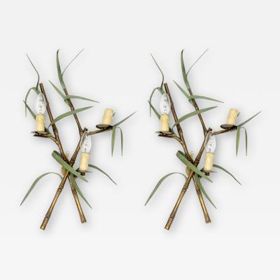 Maison Charles Pair of bronze Bamboo sconces by Maison Charles