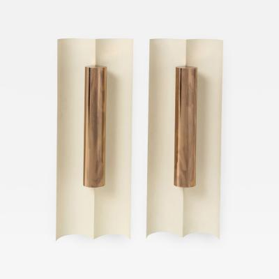 Maison Charles Pair of modernist painted metal sconces in the style of Maison Charles