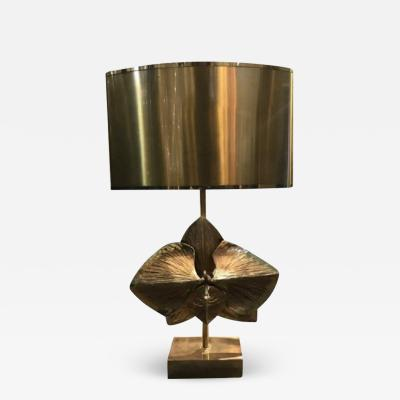 Maison Charles Rare bronze Lotus table lamp by Maison Charles