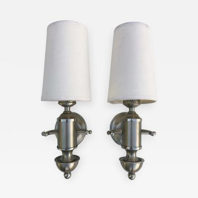 Maison Charles Signed Pair of Silver Maison Charles Sconces