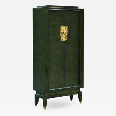 Maison Dominique Green Lacquer Cabinet by Andre Domin Marcel Genevriere for Maison Dominique