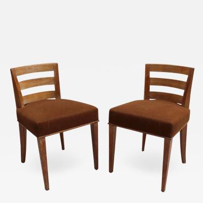 Maison Dominique Maison Dominique Pair of Fine French Art Deco Lime Oak Side Chairs