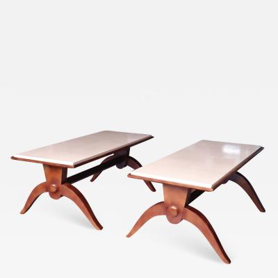 Maison Dominique Maison Dominique attributed pair of nuag lacquered parchment top tables