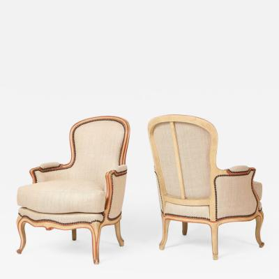 Maison Gouff Pair of French Bergeres in the Louis XV Taste by Maison Gouffe circa 1930