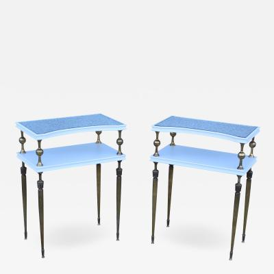 Maison Jansen 1950s French Brass Two Tier End Tables