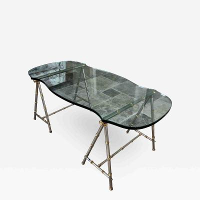 Maison Jansen 1960 s Maison Jansen Brass Steel French Modernist Cocktail Table