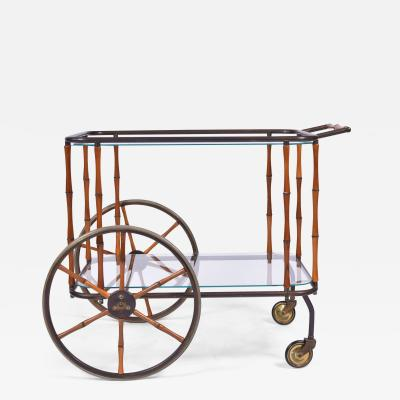 Maison Jansen 1960s French brass and bamboo drinks trolley bar cart by Maison Jansen