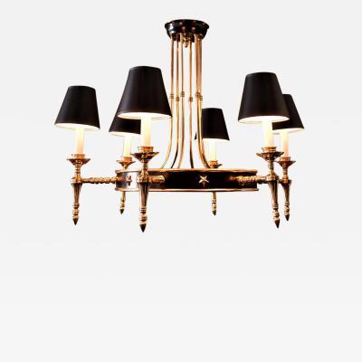 Maison Jansen 6 Arm Jansen Style Brass Chandelier