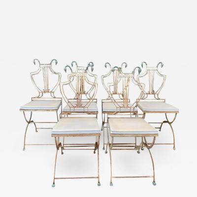 Maison Jansen 6 Brass and Metal Folding Maison Jansen Lyre Swan Chairs