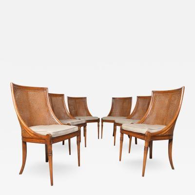 Maison Jansen 6 French Regency Louis XVI Style Cane Dining Chairs in Walnut