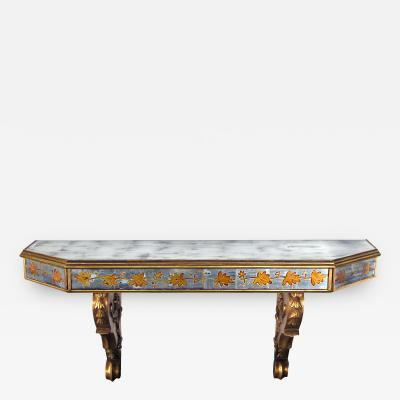 Maison Jansen A Chic French Maison Jansen Gilt Wood and Eglomise Wall Console