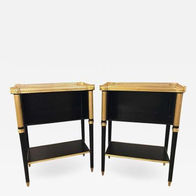 Maison Jansen A Fine Pair of Jansen Louis XVI Style Ebonized Marble Top End Tables
