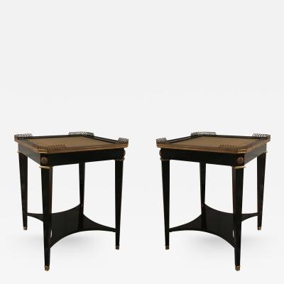 Maison Jansen A Pair of Leather Topped Side Tables by Maison Jansen