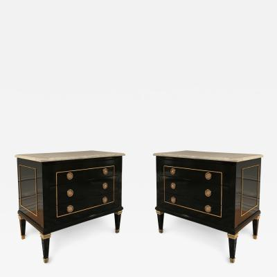 Maison Jansen A Pair of Marble Topped Commodes by Maison Jansen