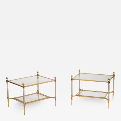 Maison Jansen A pair of French Neoclassical brass and steel side tables with glass tops