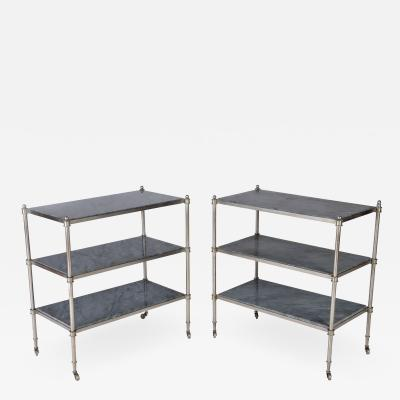 Maison Jansen A rare pair of nickel over bronze French three tier tables with blue grey marble