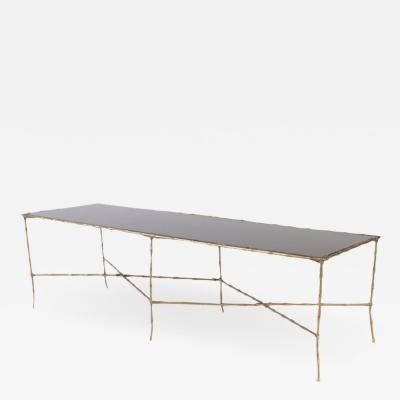 Maison Jansen A very large bronze faux bamboo and black glass top coffee table