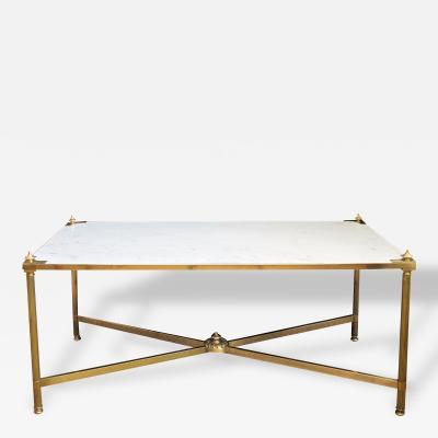 Maison Jansen An Elegant French Maison Jansen Neoclassical Style Brass Coffee Table
