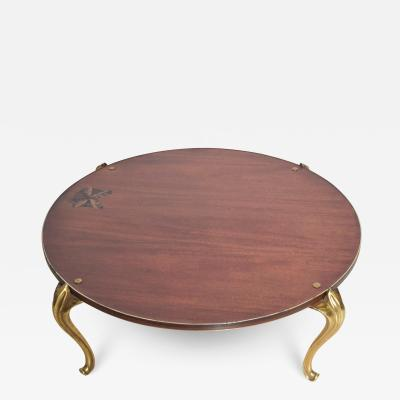 Maison Jansen Bespoke Butterfly Round Wood Coffee Table Gold Trim on Gilded Cabriole Legs